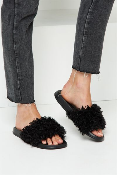Wild Slide, BLACK FAUX SHERPA