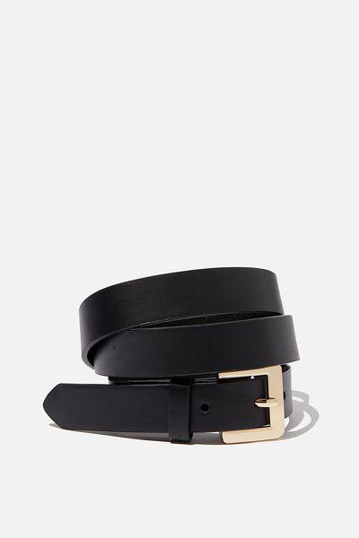 Square Buckle Belt, BLACK / GOLD