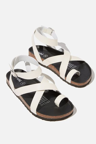 Rex Gladiator Strappy Sandal, WHITE