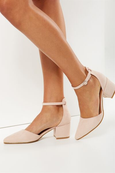Cardiff Low Block Heel, PEACH BEIGE