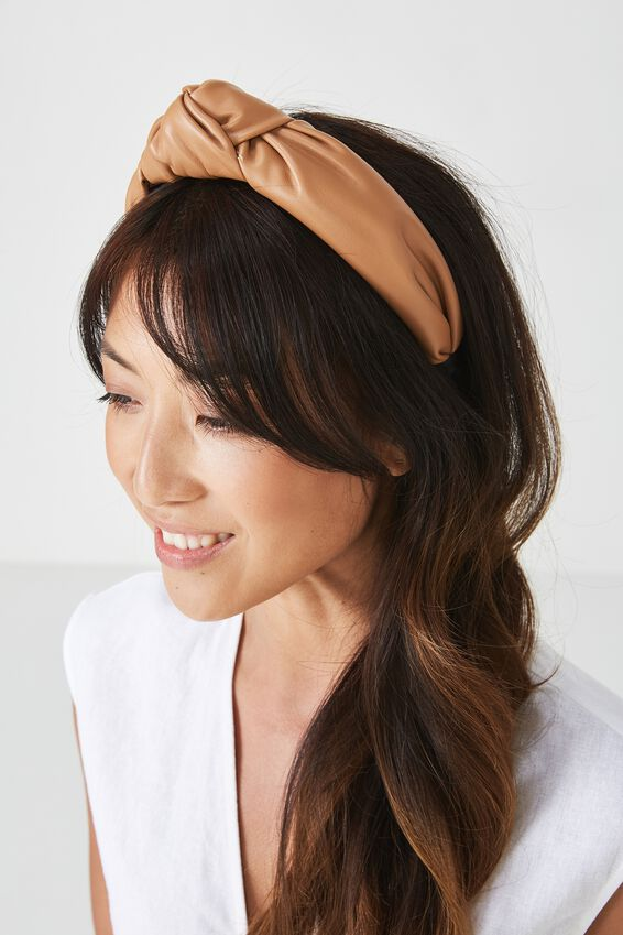 Olivia Oversized Knot Headband, TAN PU