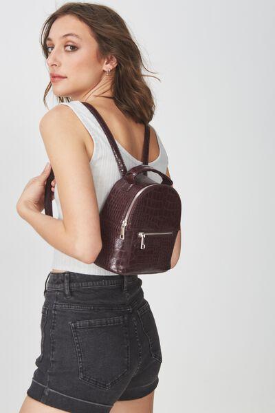 Cara Mini Backpack, OXBLOOD CROC PRINT