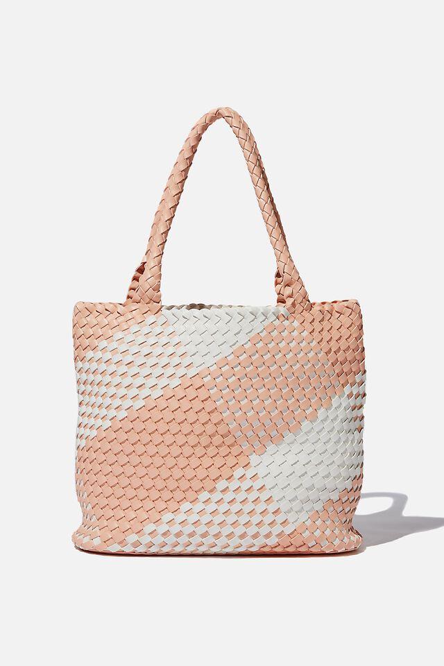 Two Tone Woven Tote Bag, MELON/WHITE