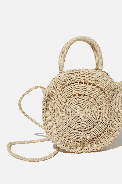 Summer Love Woven Circle Bag, WHITE SAND