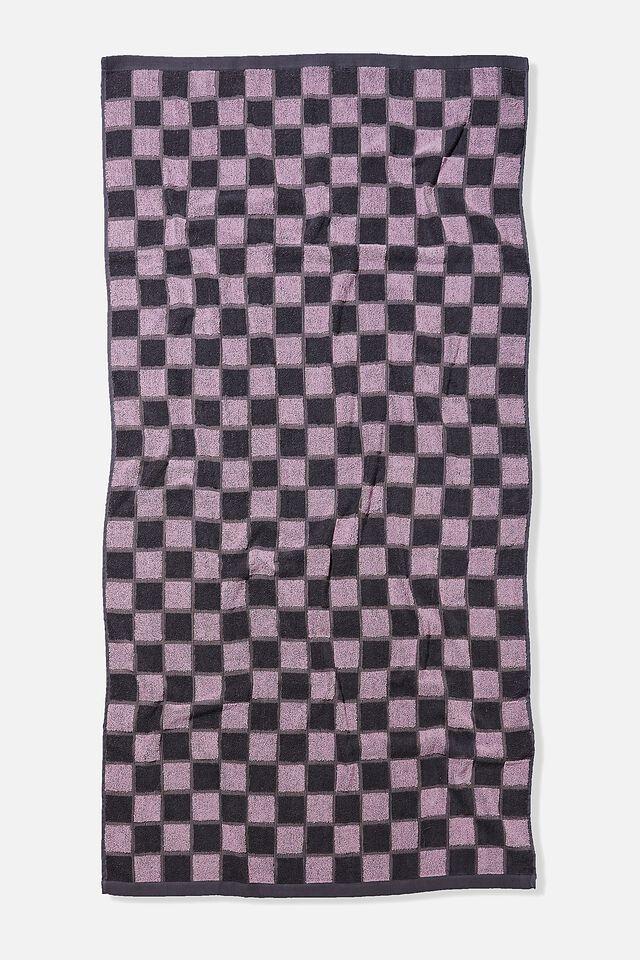Bondi Rectangle Towel, LILAC NAVY CHECKERBOARD