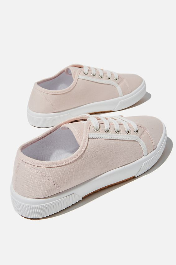 Lisa Lace Up Plimsoll, BABY PINK WHITE CONTRAST STRIPE