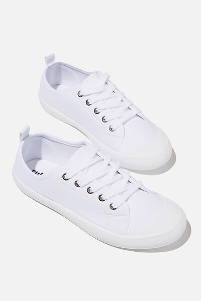 Demi Lace Up Plimsoll, WHITE