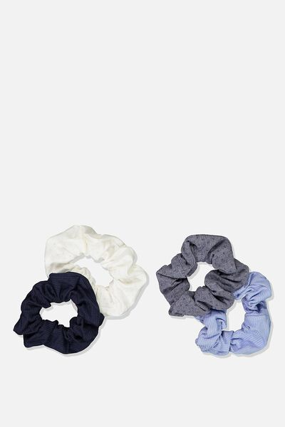 4Pk Scrunchie, NAVY/ BLUE RIB
