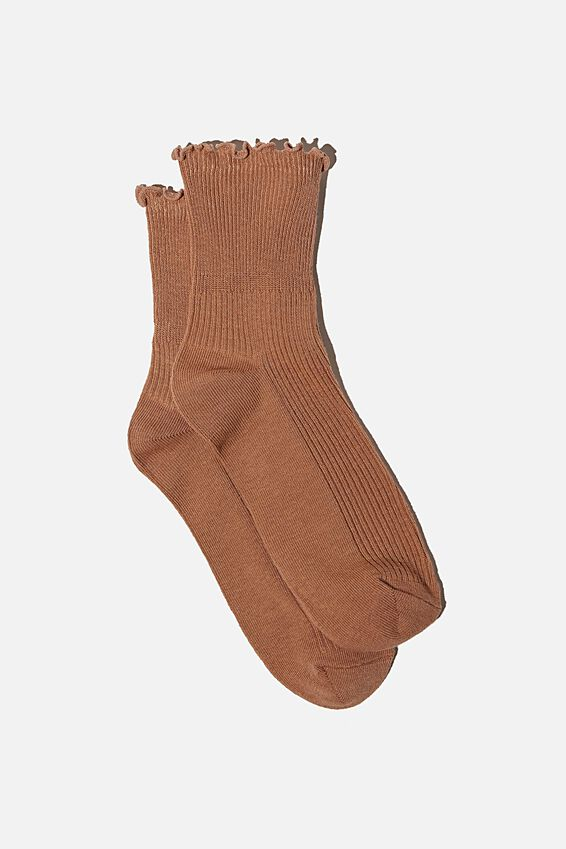 Frill Ribbed Quarter Crew Sock, CORK