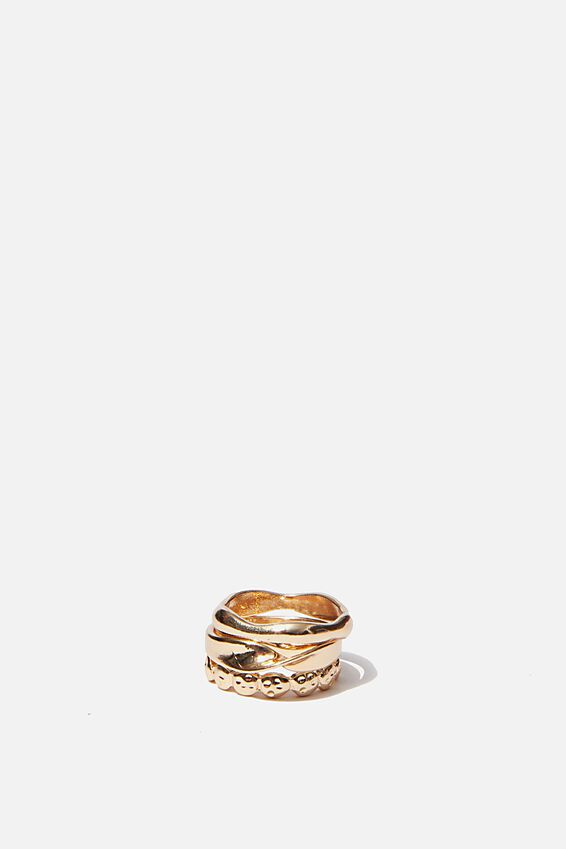 Luxe Layers Ripple Ring Set, GOLD