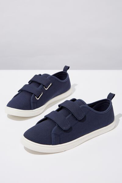 Isabelle Double Strap Plimsoll, NAVY CANVAS