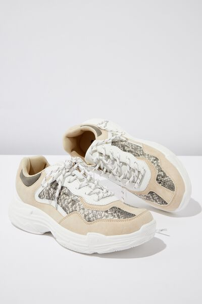 Erika Chunky Trainer, PERF GREY TEXTURE