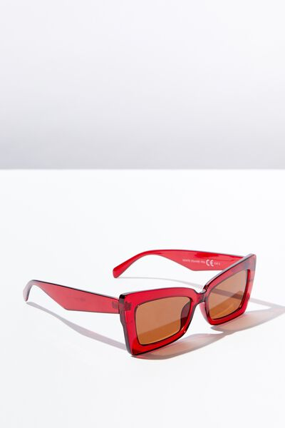 Monte Square Frame Sunglass, RED GRAD