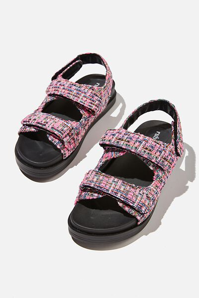 Taylor Velcro Sporty Sandal, NEON PINK MULTI TWEED