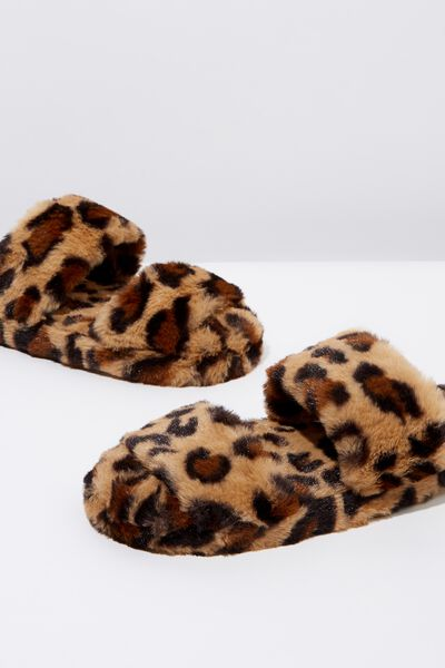 Double Strap Fluff Slipper, WARM LEOPARD