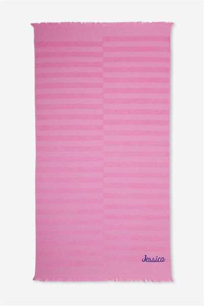 Personalised Love A Jacquard Towel, BRIGHT PINK STRIPE
