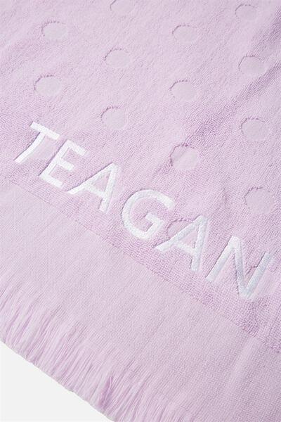 Personalised Love A Jacquard Towel, LILAC POLKA DOT
