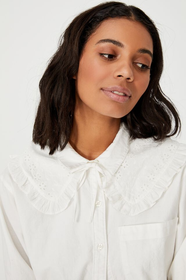 Scarlett Small Collar, WHITE BRODERIE