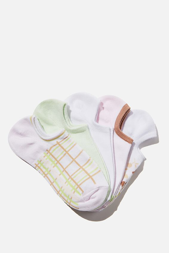 5Pk Sports Low Cut Sock, CARLA CHECK PASTRY