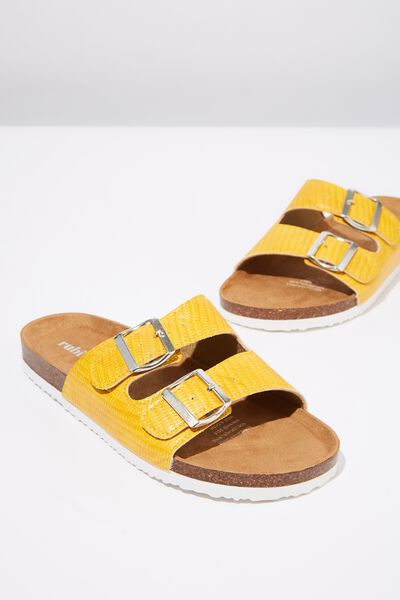 Rex Double Buckle Slide, MUSTARD EMBOSSED PU