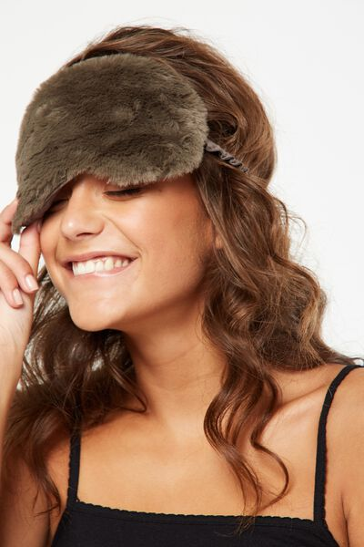 Plush Eye Mask, KHAKI