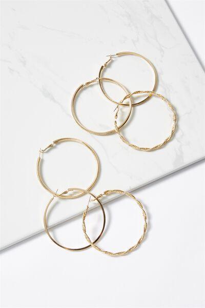 Lisa Grad Core Hoop Pack, GOLD