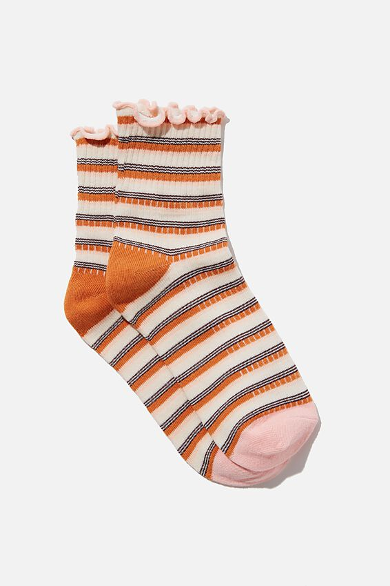 Frill Ribbed Quarter Crew Sock, RETRO STRIPE CANDY PINK