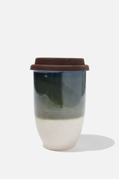 Double Walled Ceramic Travel Cup, GREEN REACTIVE