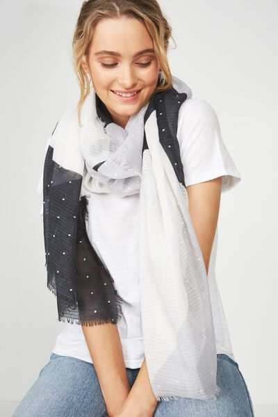 Florence Textured Lightweight Scarf, GREY SCALE COLOUR BLOCK