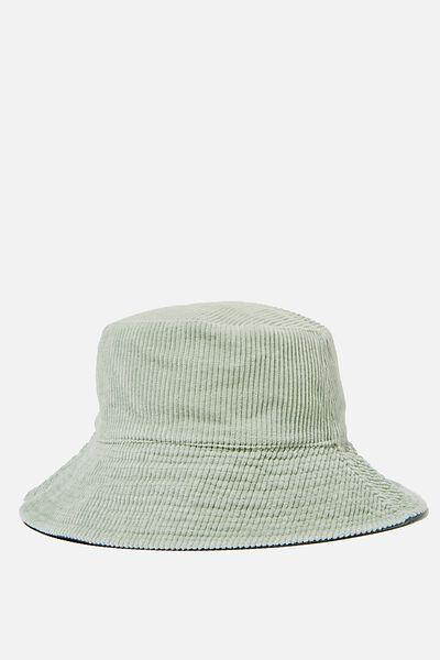 Elly Reversible Wide Brim Bucket Hat, LUSH GREEN CORD