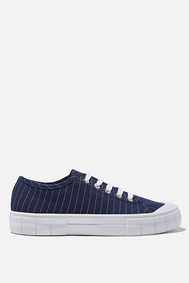 Peggy Lace Up Plimsoll, NAVY SHIRTING STRIPE