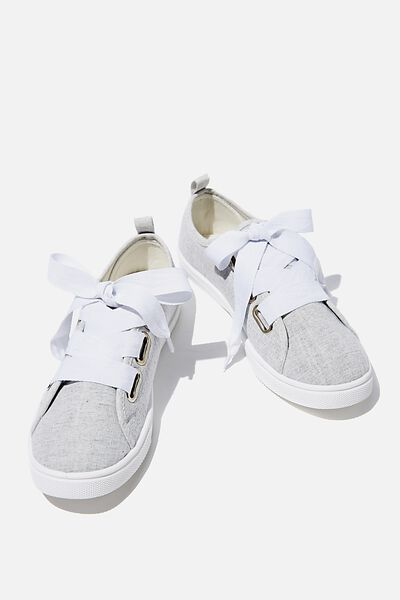 Penelope Lace Up Plimsoll, SOFT GREY TEXTURE