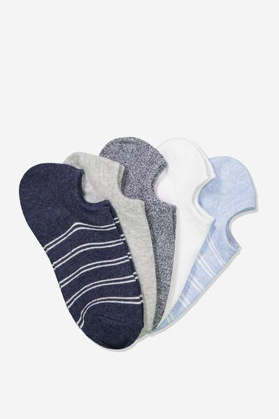 5Pk Sports Low Cut Sock, BLUE STRIPE