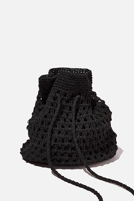 Macrame Knit Bucket Bag, BLACK