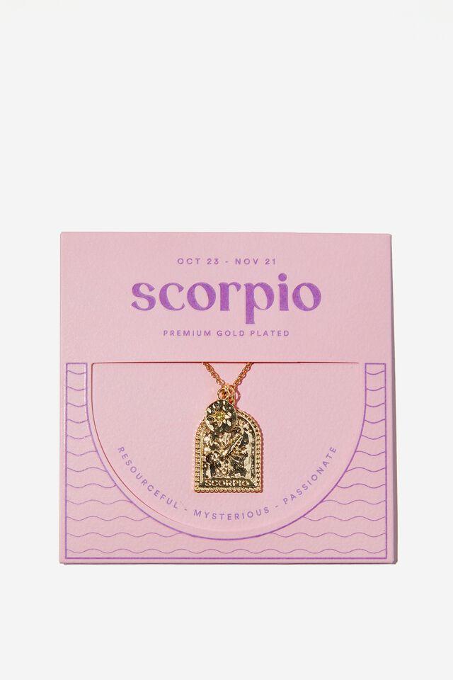 Premium Zodiac Necklace, GOLD PLATED SCORPIO