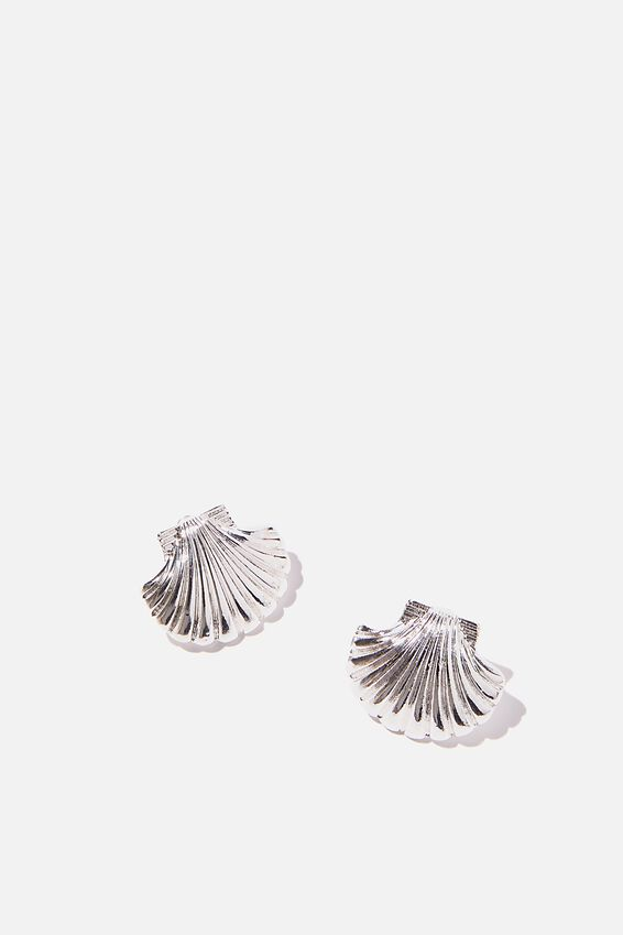 Holiday Statement Earring, SILVER CLAM STUD
