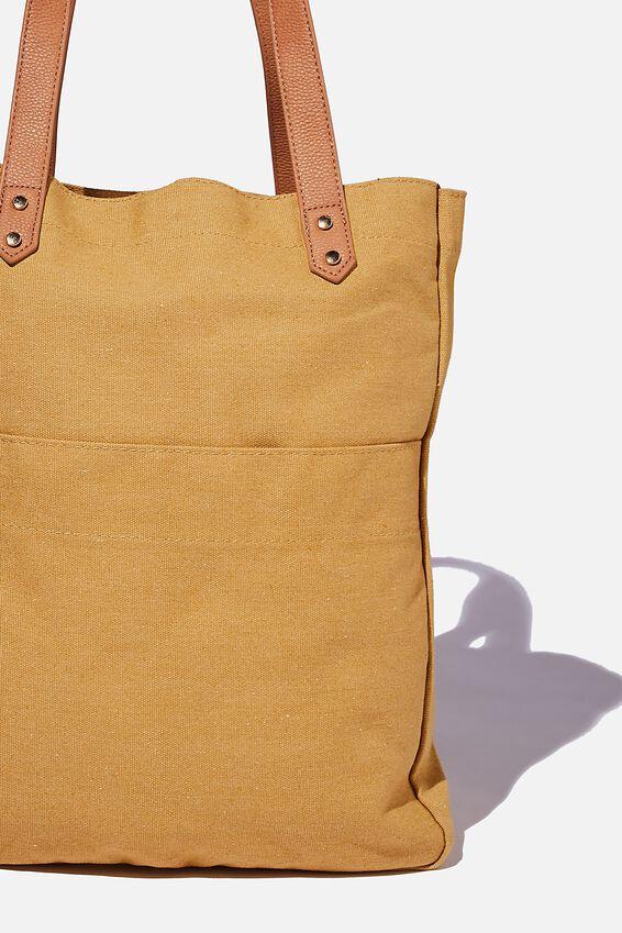 Olive Carryall Tote Bag, MUSTARD