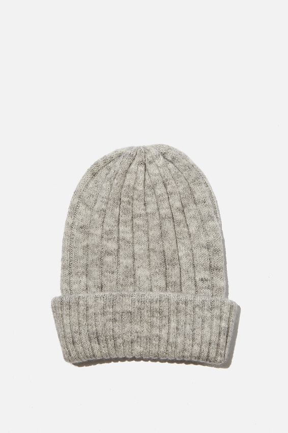 Willa Wide Rib Beanie, GREY MARLE