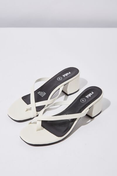 Briony Toe Post Heel, OFF WHITE SMOOTH