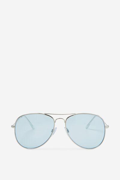 Arabella Metal Sunglasses, SILVER/BLUE