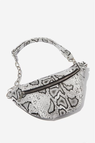Britt Belt Bag, WHITE FAUX SNAKE
