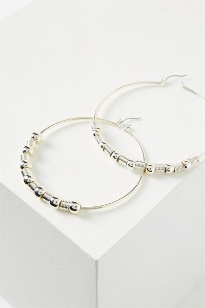 Beaded Hoop Earring, SILVER
