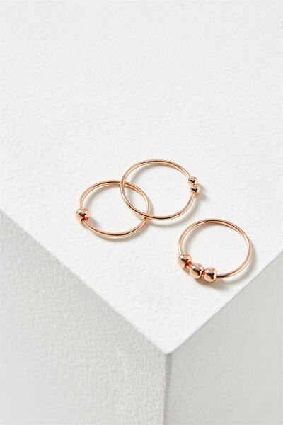 Marley Metal Ring Set, ROSE GOLD