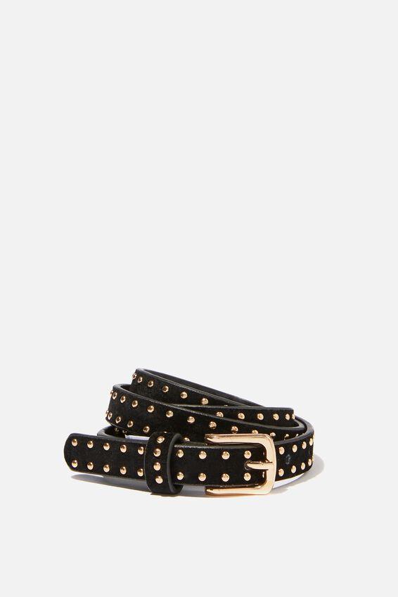 Mini Studded Belt, BLACK W GOLD