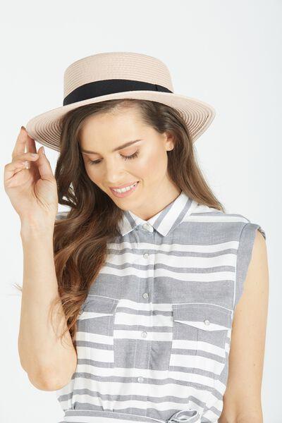 Oxford Boater Hat, BLUSH