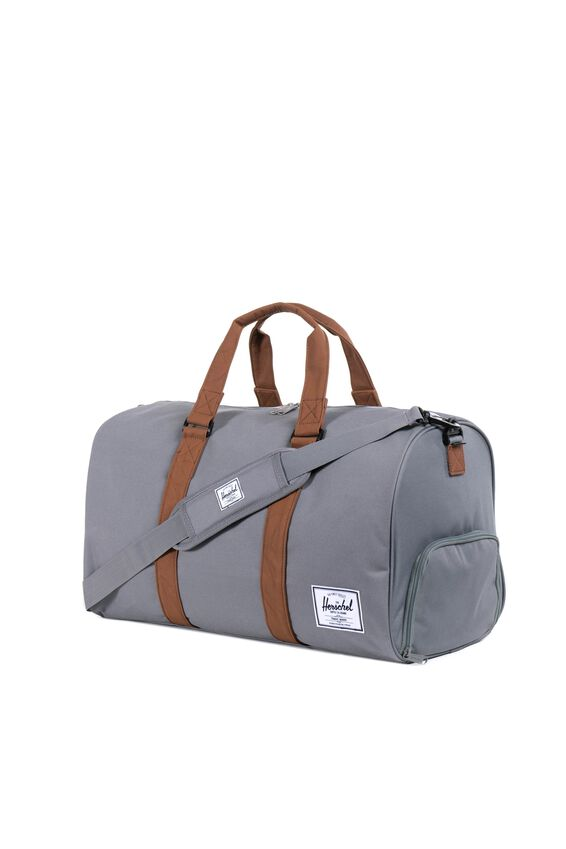 Herschel Novel Duffle Bag, GREY/TAN SYNTHETIC LEATHER