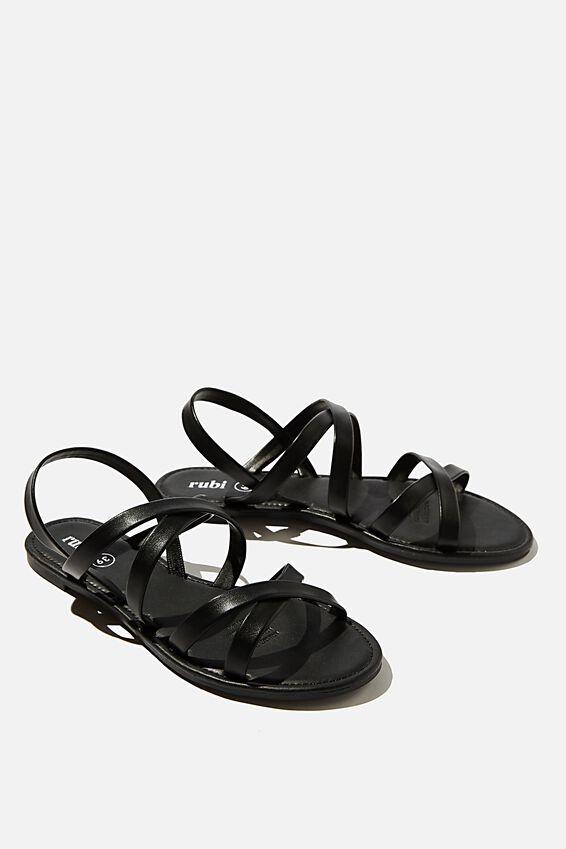 Lucy Strappy Slingback Sandal, BLACK PU