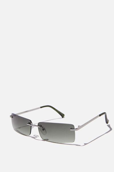 Rimless Square Sunglasses, HERITAGE GREEN
