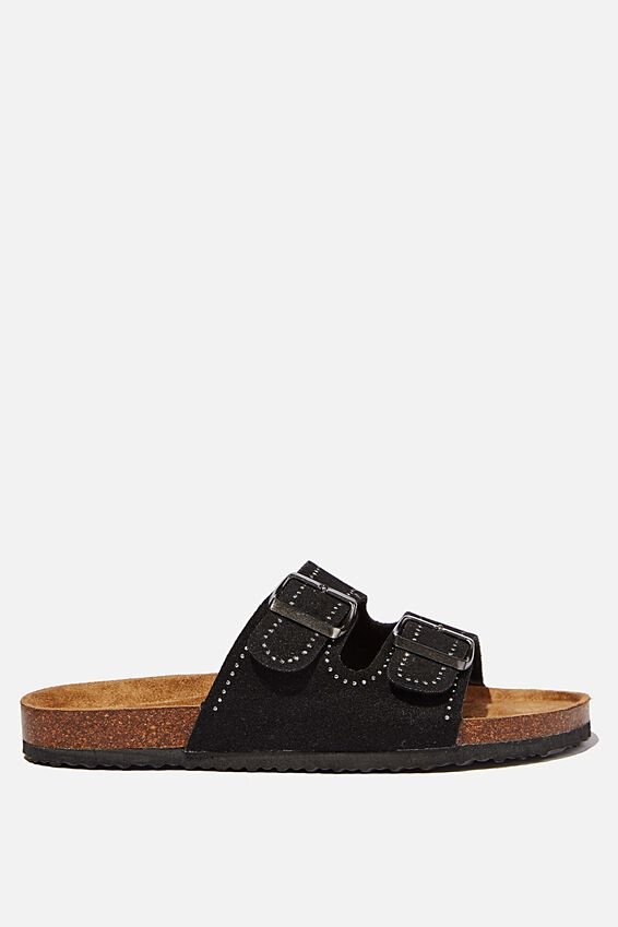 Rex Embellished Double Buckle Slide, BLACK STUDDED ROGH MICRO