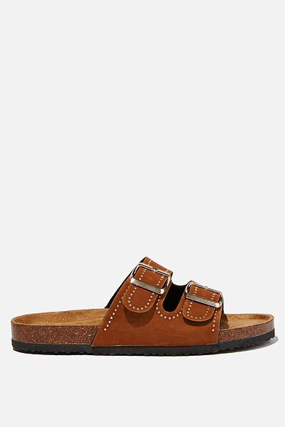 Rex Embellished Double Buckle Slide, TOBACCO STUDDED ROUGH MICRO